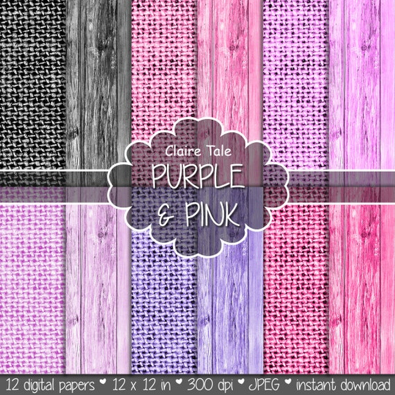 "Linen and wood digital paper: ""Purple & pink LINEN AND WOOD"" with wood and linen background texture in pink, violet, orchid, purple, black"