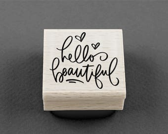 Rubber Stamp Hello Beautiful 4 x 3,5 cm