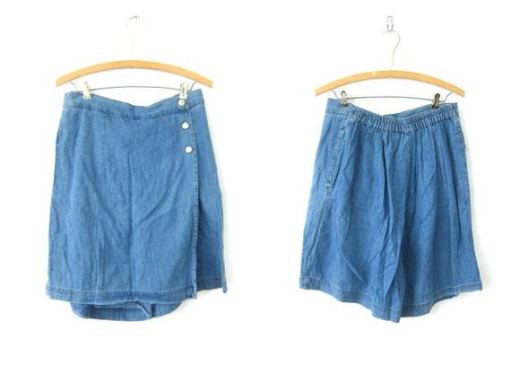 Faded Blue SKORT Culotte shorts Wide Leg Shorts Mini Kilt Skirt 1980s Shorts High Waist Shorts Women's Size 31 Inch Waist