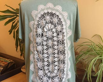 Upcycled tshirt, dusty-green, green-grey, vintage crochet doily inserts, bohemian, lace back, crochet back, upcycled clothing