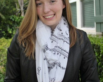 Floral White and Black Lightweight Gauze Scarf