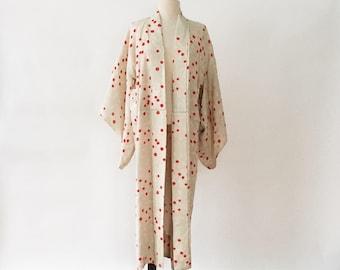 Vintage Floral Silk Ikat Mint Green Red Kimono Robe