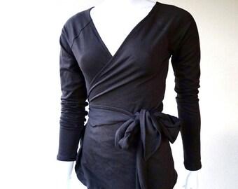 Black wrap top, organic cotton wraparound shirt, handmade clothes, more colors
