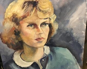 Vintage Mid Century Oil Portrait Painting--Blonde Woman Blue Dress--Sunday Artist Wood Panel Painting Primitive Wall Art