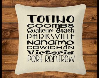 VANCOUVER ISLAND - Burlap-look Canvas Pillow Cover, Throw Pillow, Custom Pillow, Pillow Case, Home Decor, Wedding, Housewarming, Home Gifts
