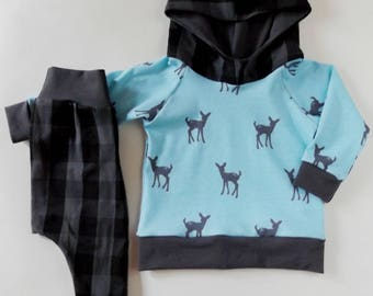 Size 0-3M baby boy hoodie set, baby deer and plaid, check plaid harems