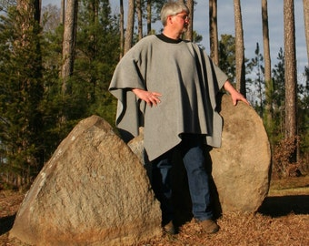 Grey Antipill Fleece Poncho in a Make My Day Clint Eastwood Style