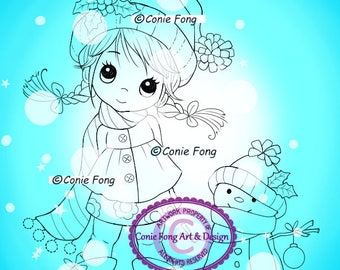 Digital Stamp, Digi Stamp, digistamp, Molly's Winter Friends Conie Fong, Christmas, Winter, snowman, coloring page, children, bird,snow