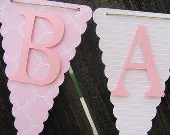 Pink and white  Baby Girl Banner, Baby Shower Banner, Baby Shower Decorations