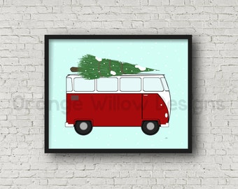 Old Red Van Christmas Tree Art Print 11x14 Art Printable (5AOWDe52) Vintage Christmas Red OLD Van Car Art Printable Christmas Holiday Art