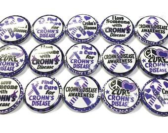 "Crohn's Disease Magnet, 1"" Button Magnet, Purple Ribbon Magnet, Purple Ribbon, Crohn's Button, Crohn's Magnet, Crohn's Awareness, Crohn's"