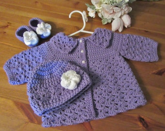 Baby Sweater Set, Baby Hat and Booties, Newborn Outfit, Handmade Baby Set, Crochet Infant Gift, Baby Coat and Hat, Purple Baby Set