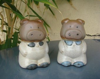 SALT and pepper SHAKERS PIGS stoneware - distributors salt and pepper pig cute - Retro Piggy salt and pepper shakers - Made in France
