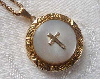 Vintage Necklace Round Locket Mother of Pearl Cross Design Gold Filled Chain