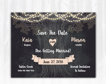 Rustic Tree Save The Date Magnet or Card DIY PRINTABLE Digital File or Print (extra) Country Save The Date Lights Save The Date