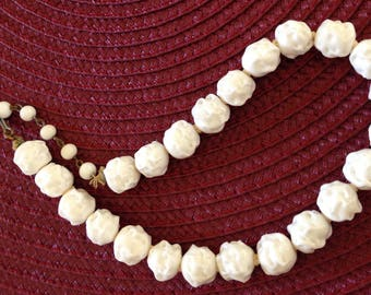 Vintage CZECH White Nugget Glass Bead Necklace Gorgeous