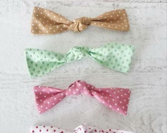 swiss dots- vintage- baby headbands/clips