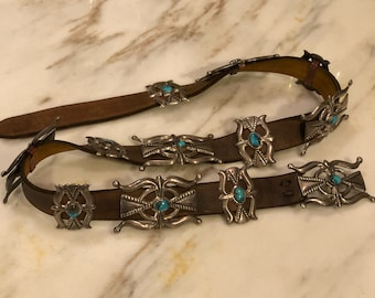 Vintage 1960's-1970's Native American Turquoise and Sterling Silver Concho Belt