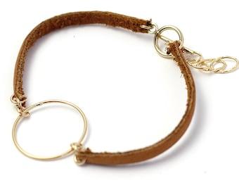 MINIMALIST LEATHER Bracelet Minimalist Jewelry Salvaged Leather Fitted Bracelet
