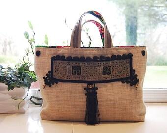 Vintage embroidery hemp bag