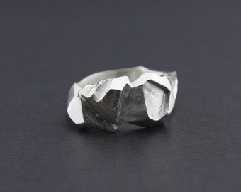 Angled Facet Ring: Sterling Silver Faceted Ring