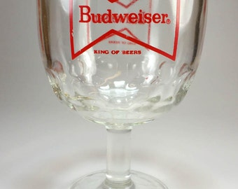 Vintage Budweiser Goblet, The King of Beers, Beer Glass, Breweriana, Home Bar, Man Cave Decor, Gifts Under 10