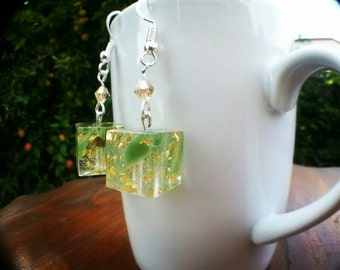NZ Genuine Greenstone and 24k Gold Cube Drop Earrings