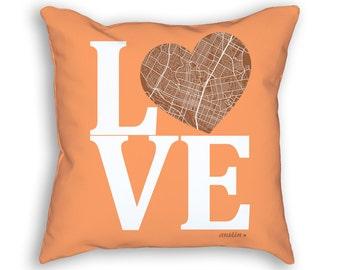 Austin Texas Street Map Love Throw Pillow, Austin Pillow, Austin Cushion, Austin Throw Pillow, Austin Accent Pillow, Austin Throw Cushion