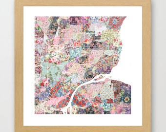 Detroit map | Detroit Painting | Detroit Art Print | Detroit Poster | Michigan map | Flowers compositions