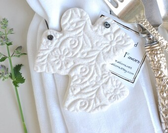 Baptism Favors Angel Baby Shower Cute Christening Personalized Gifts Guardian Angel Salt Dough Ornaments Set of 10