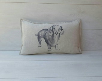 Linen dachshund Cushion cover oblong linen sausage dog pillow cover dachshund gifts dog lovers wiener dog dachshund cute