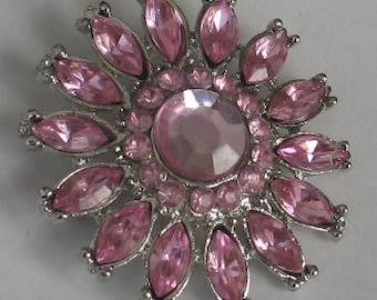 Vintage Vivid Pink Rhinestone Jeweled Flower Pin