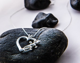 Gecko Necklace, Gecko Pendant, Heart Pendant, Love Lizards, Gecko Heart Pendant, Lizard Jewelry, Silver Gecko Jewelry, Gift For Her