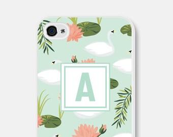 Monogram Samsung Galaxy S5 Case Floral iPhone 6s Case iPhone 6 Case Mint iPhone 6 Plus Case Swan iPhone 5s Case Personalized iPhone 6s Case