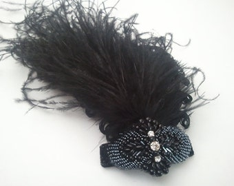 Luxe black wrist corsage, feather corsage, 1920s corsage, prom corsage, corsages for prom, Gatsby corsage, goth corsage, 1920s wedding
