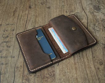 Leather wallet men purse wallet brown with coin pocket
