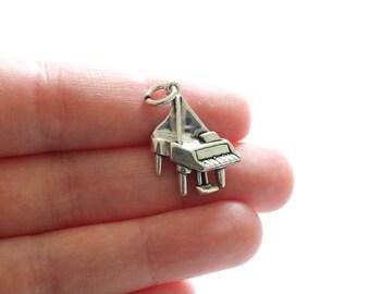 Sterling Silver Piano Charm, Piano Pendant, Silver Piano Charm, Silver Piano Pendant, Music Piano Charm, Music Charm, Music Piano Pendant