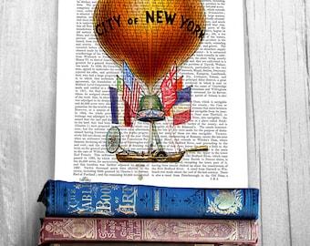 City of New York Hot Air Balloon Print, New York Print new york poster hot air balloon decor balloon wall art balloon art New York city