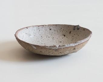 Medium white bowl, or plate, handmade ceramic pottery