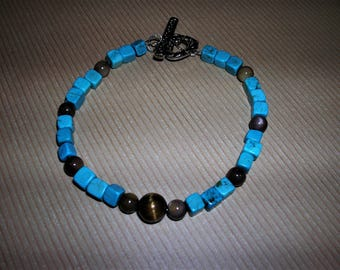 Turquoise and Brown Tiger Eye Bracelet