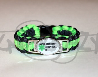 Custom Made For You Medical Alert ID Large ALLOY Charm on 550 Paracord Survival Strap Bracelet with Plastic Contoured Side Release Buckle