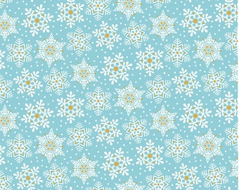 Blend Fabrics by Maude Asbury Snowflake Waltz Land of Snow in Blue