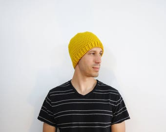 Yellow Crochet Beanie. Mens Hat. Crochet Fitted Hat. Knit Yellow Gold Hat. Mens Fall Fashion. Winter Accessories. Mens Fitted Hat