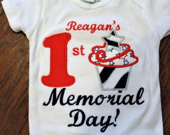 Memorial Day, 1st Memorial Day, personalized, bodysuit, patriotic, red, white, and blue, baby girl clothes, baby shower gift, baby girl gift