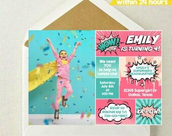 Girl Superhero Photo Invitation // Girl Superhero Invitation // Girl Superhero Birthday // Supergirl Invite // Superhero Invitation for Girl