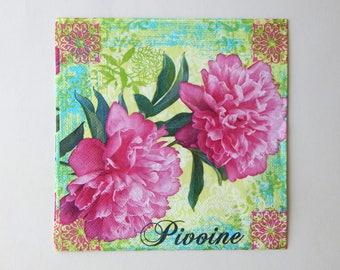 2 pink peonies 33 x 33 cm paper napkins