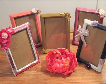 Picture frames, upcycled picture frames, shabby chic, decorated picture frames, 4x6 frames, lot of 5, shersvintagefinds