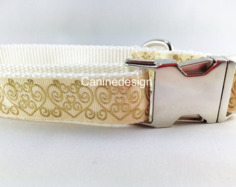 Dog Collar, Wedding, Marriage, 1 inch wide, adjustable, quick release, metal buckle, chain, martingale, hybrid, nylon
