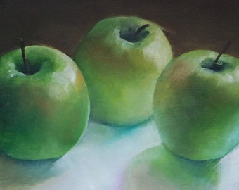 Oil painting of green apples, small still life painting,original fruit painting
