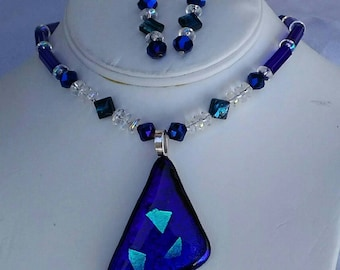 Blue dichroic pendant with green hints in some light, fused glass, clear and dark blue beaded necklace original one of a kind earrings